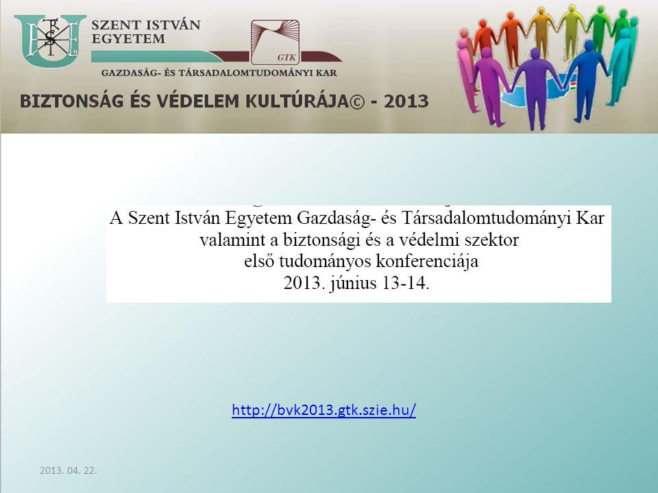 2013. 04. 22. http://bvk2013.gtk.szie.hu/