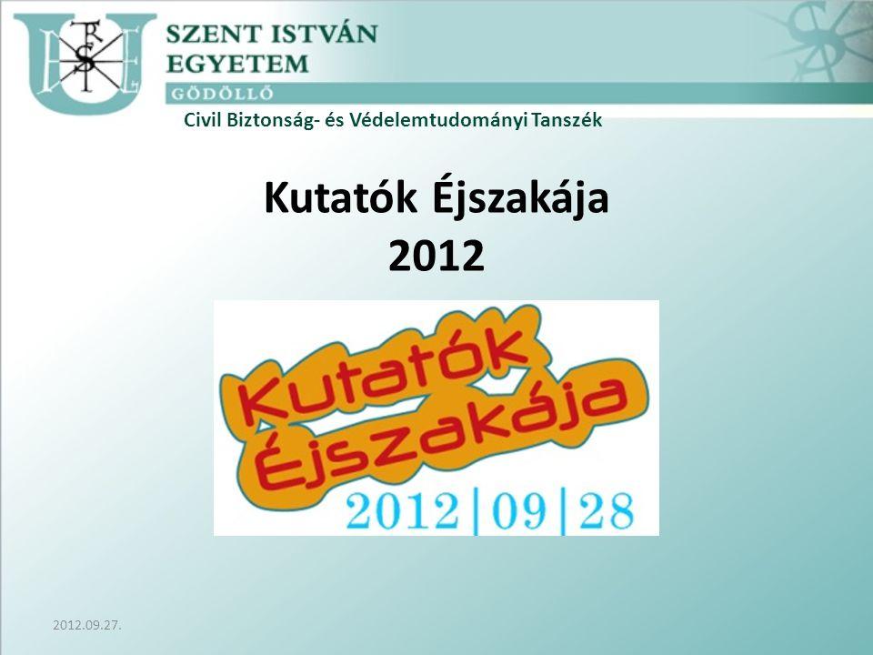 Civil Biztonság- és Védelemtudományi Tanszék 2012.09.27. Kutatók Éjszakája 2012