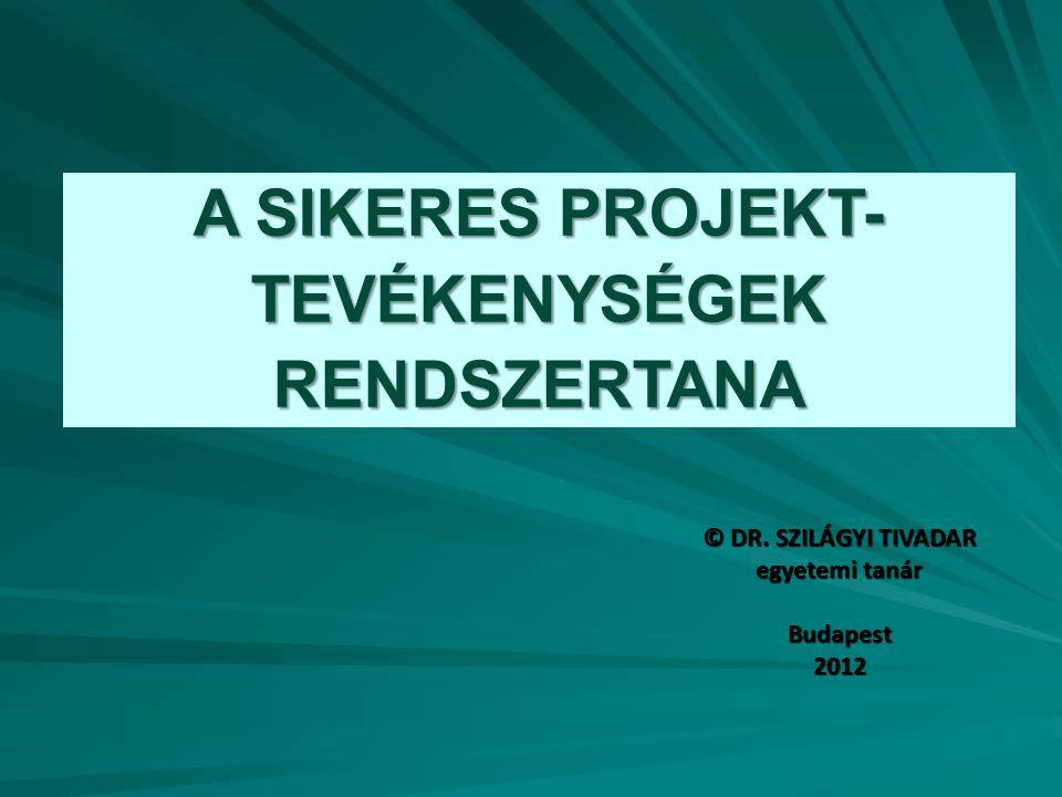 A SIKERES PROJEKT- TEVÉKENYSÉGEK RENDSZERTANA © DR. SZILÁGYI TIVADAR egyetemi tanár Budapest2012