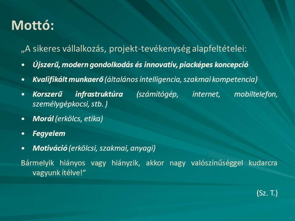"""Mottó: """"A sikeres vállalkozás, projekt-tevékenység alapfeltételei: Újszerű, modern gondolkodás és innovatív, piacképes koncepció Kvalifikált munkaerő"""