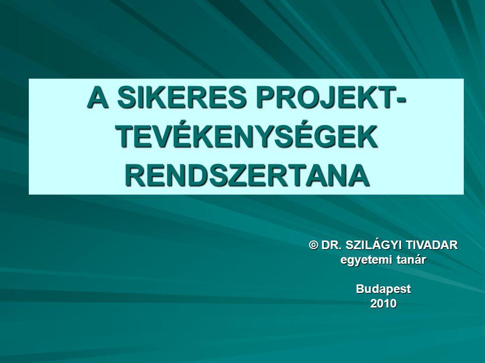A SIKERES PROJEKT- TEVÉKENYSÉGEK RENDSZERTANA © DR. SZILÁGYI TIVADAR egyetemi tanár Budapest2010