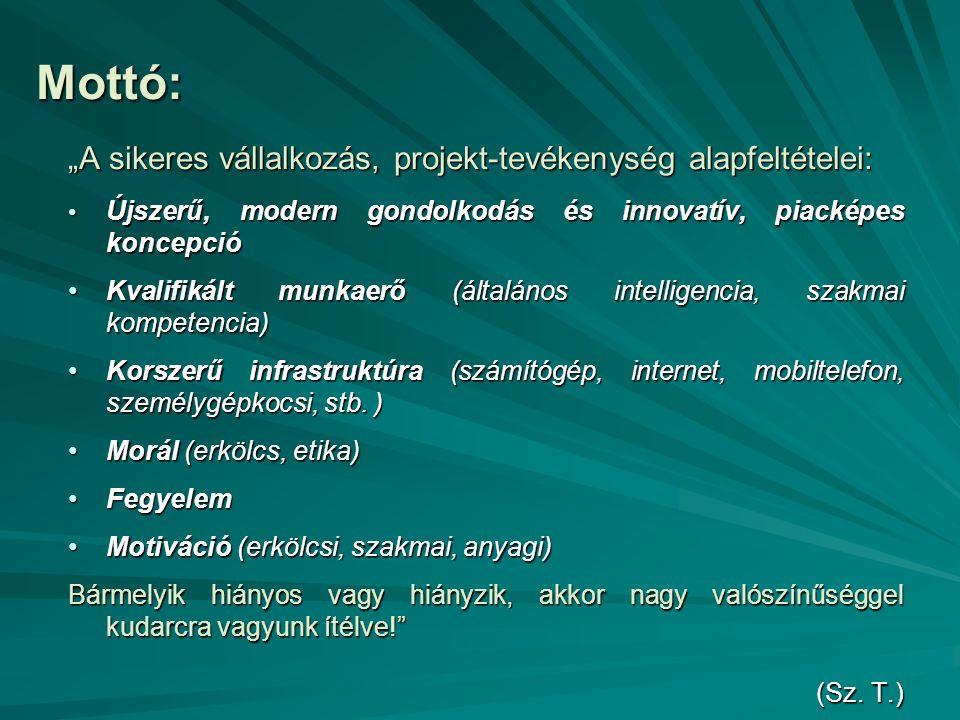 """Mottó: """"A sikeres vállalkozás, projekt-tevékenység alapfeltételei: Újszerű, modern gondolkodás és innovatív, piacképes koncepció Újszerű, modern gondo"""