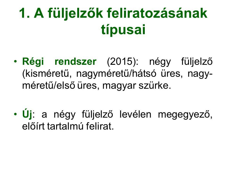1. A füljelzők feliratozásának típusai Régi rendszer (2015): négy füljelző (kisméretű, nagyméretű/hátsó üres, nagy- méretű/első üres, magyar szürke. Ú