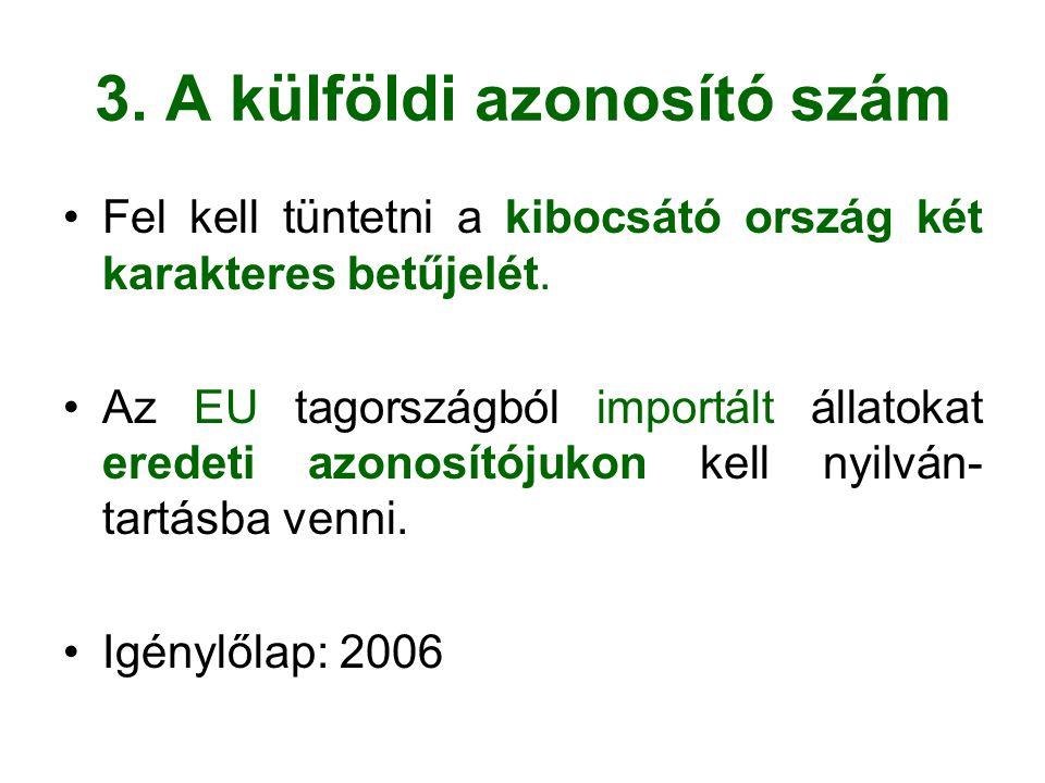 3. A külföldi azonosító szám Fel kell tüntetni a kibocsátó ország két karakteres betűjelét.