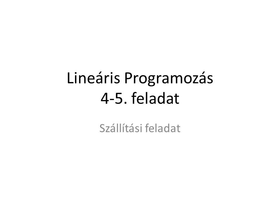 Lineáris Programozás 4-5. feladat Szállítási feladat