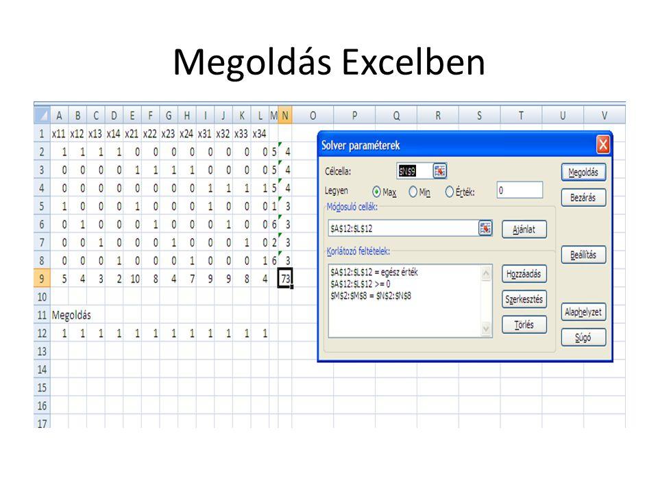 Megoldás Excelben