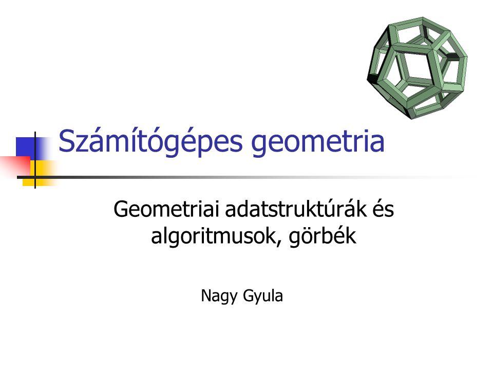 Számítógépes geometria Geometriai adatstruktúrák és algoritmusok, görbék Nagy Gyula