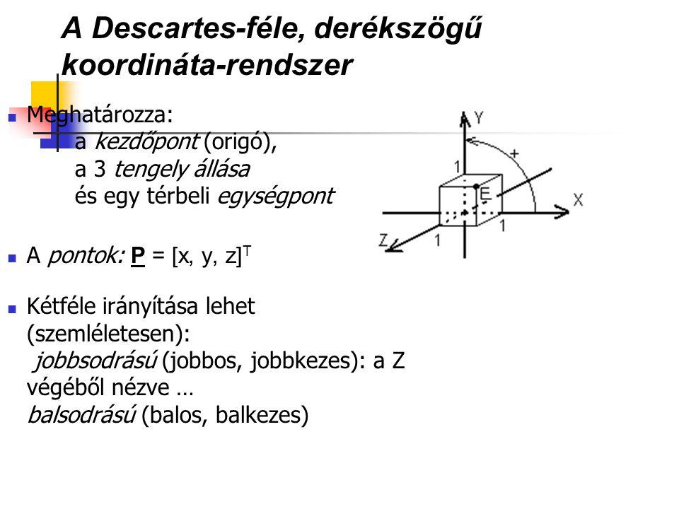 A Descartes-féle, derékszögű koordináta-rendszer Meghatározza: a kezdőpont (origó), a 3 tengely állása és egy térbeli egységpont A pontok: P = [x, y,