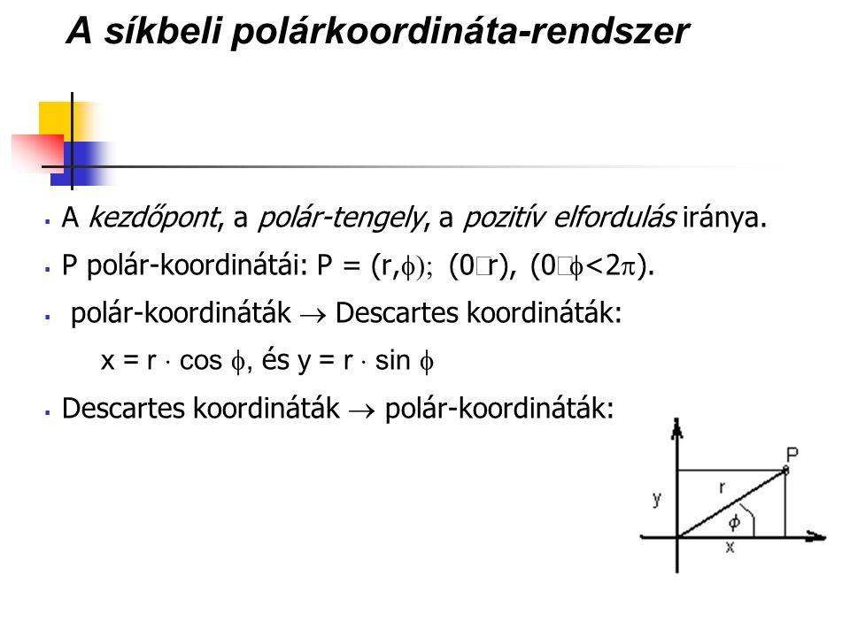 A síkbeli polárkoordináta-rendszer  A kezdőpont, a polár-tengely, a pozitív elfordulás iránya.  P polár-koordinátái: P = (r,  (0  r), (0  <2