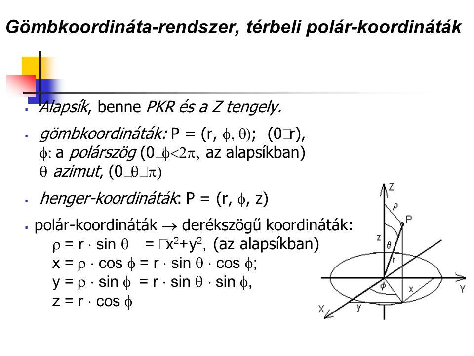 Gömbkoordináta-rendszer, térbeli polár-koordináták  Alapsík, benne PKR és a Z tengely.  gömbkoordináták: P = (r,  ; (0  r),  a polárszög (0