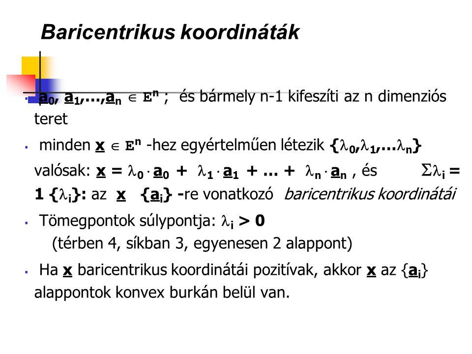 Baricentrikus koordináták  a 0, a 1,…,a n  E n ; és bármely n-1 kifeszíti az n dimenziós teret  minden x  E n -hez egyértelműen létezik { 0, 1,… n