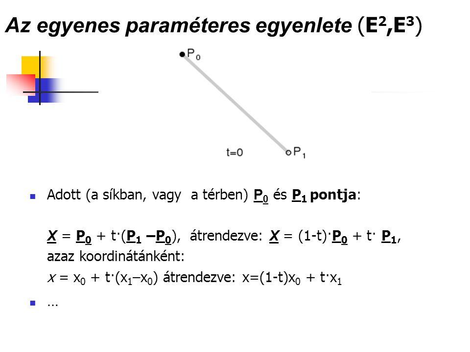 Az egyenes paraméteres egyenlete (E 2,E 3 ) Adott (a síkban, vagy a térben) P 0 és P 1 pontja: X = P 0 + t·(P 1 –P 0 ), átrendezve: X = (1-t)·P 0 + t·