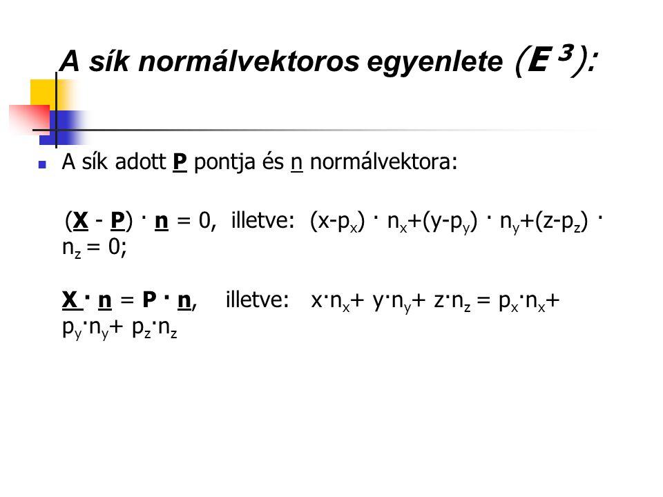 A sík normálvektoros egyenlete (E 3 ): A sík adott P pontja és n normálvektora: (X - P) · n = 0, illetve: (x-p x ) · n x +(y-p y ) · n y +(z-p z ) · n