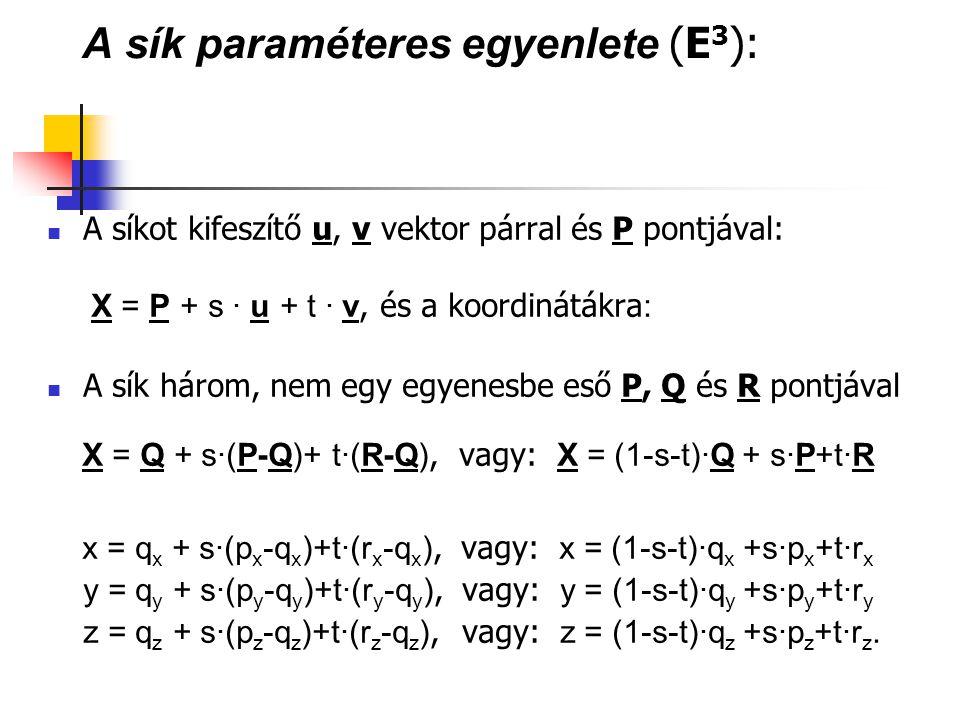 A sík paraméteres egyenlete (E 3 ): A síkot kifeszítő u, v vektor párral és P pontjával: X = P + s · u + t · v, és a koordinátákra : A sík három, nem