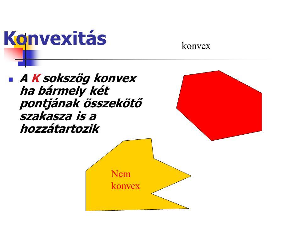 Konvexitás A K sokszög konvex ha bármely két pontjának összekötő szakasza is a hozzátartozik Nem konvex konvex