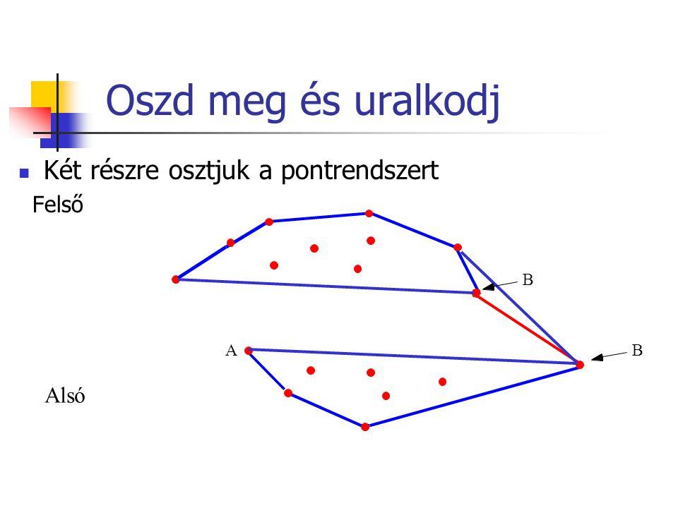Oszd meg és uralkodj Két részre osztjuk a pontrendszert Felső B Alsó B A