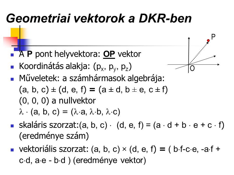 Geometriai vektorok a DKR-ben A P pont helyvektora: OP vektor Koordinátás alakja: ( p x, p y, p z ) Műveletek: a számhármasok algebrája: ( a, b, c ) ±