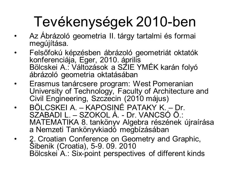 Tevékenységek 2010-ben Az Ábrázoló geometria II. tárgy tartalmi és formai megújítása. Felsőfokú képzésben ábrázoló geometriát oktatók konferenciája, E