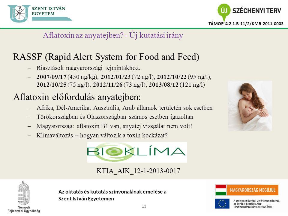 11 TÁMOP-4.2.1.B-11/2/KMR-2011-0003 Az oktatás és kutatás színvonalának emelése a Szent István Egyetemen Aflatoxin az anyatejben.