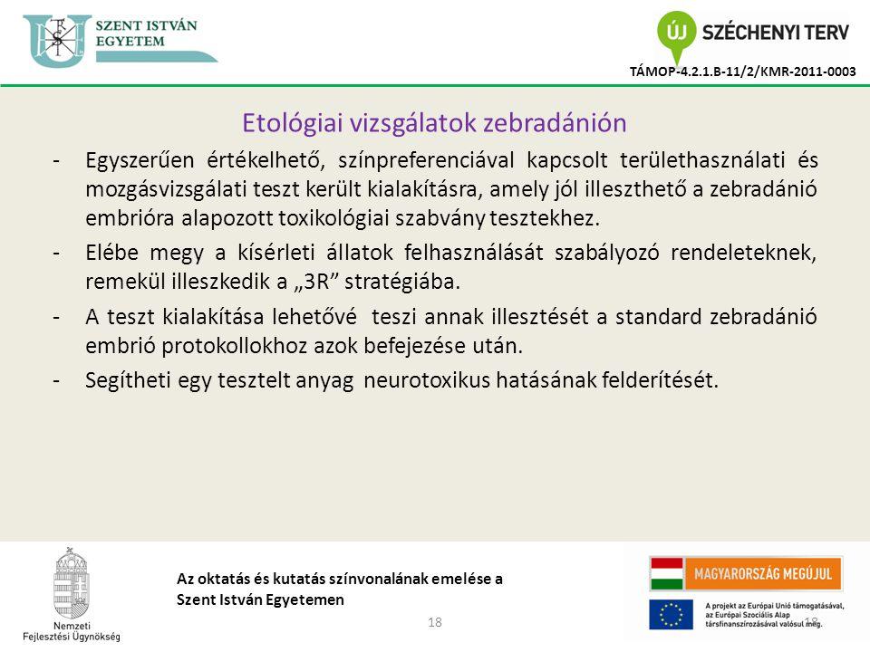 18 TÁMOP-4.2.1.B-11/2/KMR-2011-0003 Az oktatás és kutatás színvonalának emelése a Szent István Egyetemen Etológiai vizsgálatok zebradánión -Egyszerűen értékelhető, színpreferenciával kapcsolt területhasználati és mozgásvizsgálati teszt került kialakításra, amely jól illeszthető a zebradánió embrióra alapozott toxikológiai szabvány tesztekhez.