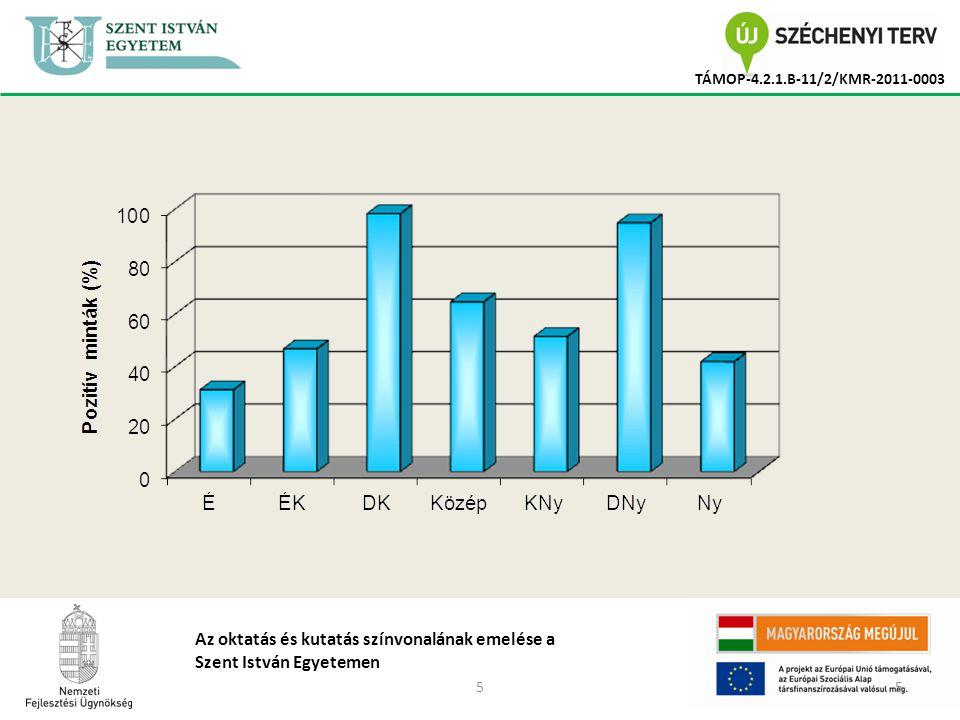 66 TÁMOP-4.2.1.B-11/2/KMR-2011-0003 Az oktatás és kutatás színvonalának emelése a Szent István Egyetemen Aflatoxin B 1 (határérték: 20 µg/kg) DON (határérték: 5 - 12 mg/kg)