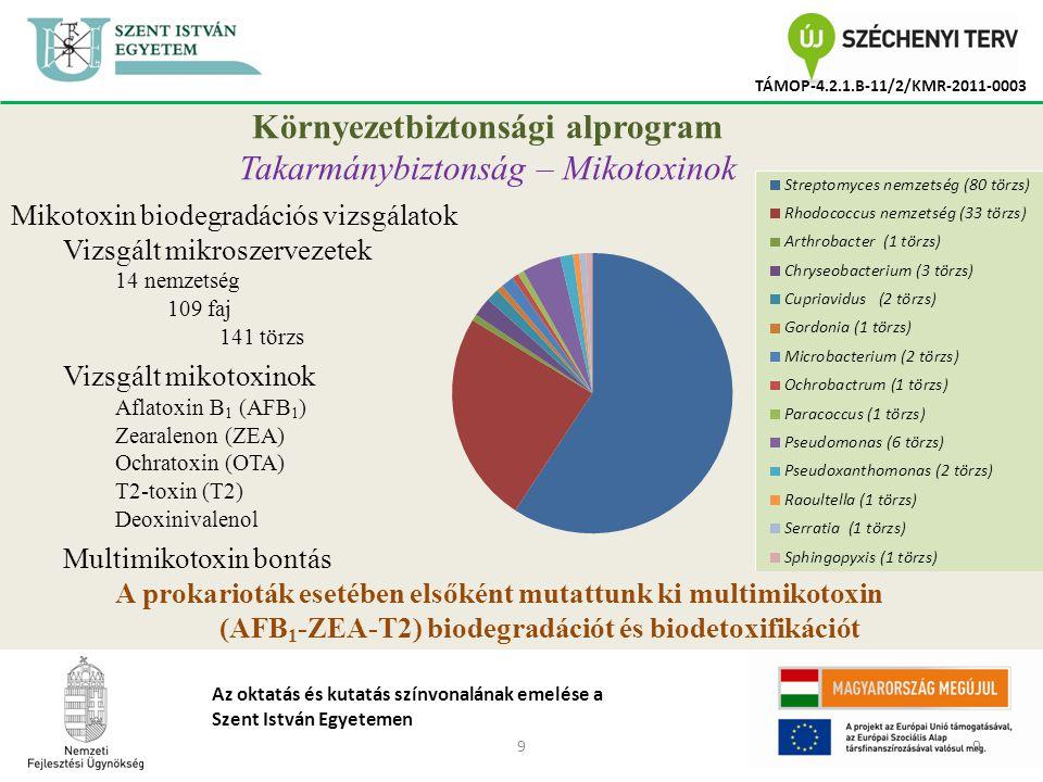 99 TÁMOP-4.2.1.B-11/2/KMR-2011-0003 Az oktatás és kutatás színvonalának emelése a Szent István Egyetemen Környezetbiztonsági alprogram Takarmánybiztonság – Mikotoxinok Mikotoxin biodegradációs vizsgálatok Vizsgált mikroszervezetek 14 nemzetség 109 faj 141 törzs Vizsgált mikotoxinok Aflatoxin B 1 (AFB 1 ) Zearalenon (ZEA) Ochratoxin (OTA) T2-toxin (T2) Deoxinivalenol Multimikotoxin bontás A prokarioták esetében elsőként mutattunk ki multimikotoxin (AFB 1 -ZEA-T2) biodegradációt és biodetoxifikációt