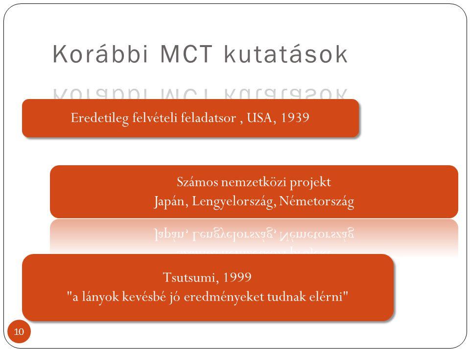 10 Eredetileg felvételi feladatsor, USA, 1939 Tsutsumi, 1999 a lányok kevésbé jó eredményeket tudnak elérni Tsutsumi, 1999 a lányok kevésbé jó eredményeket tudnak elérni