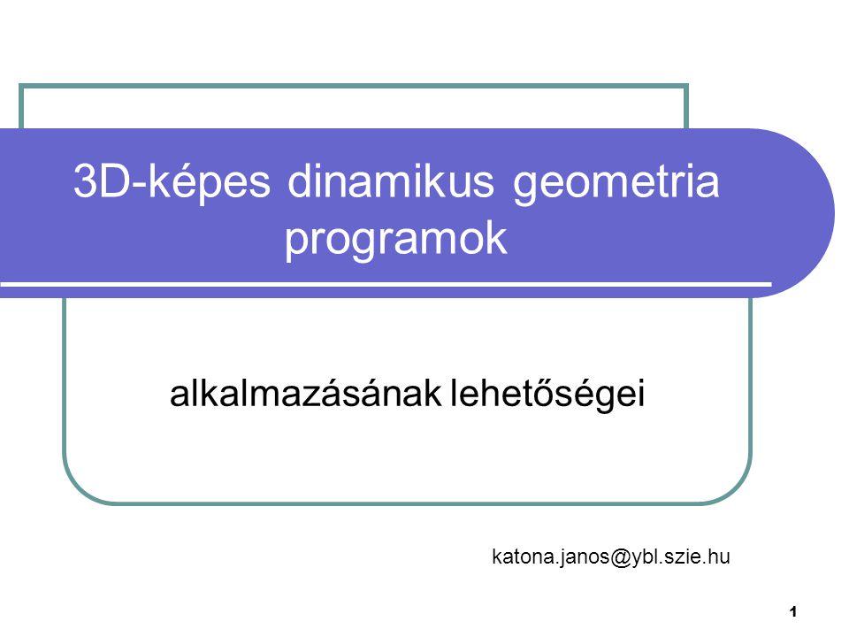 2 Áttekintés Dinamikus geometria Ábrakészítés, szemléltetés, dinamikus ábrák Játékok E-learning Problémamegoldás