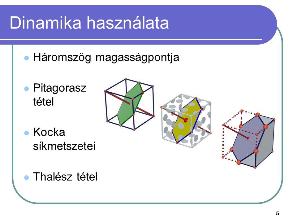 Dinamika használata Háromszög magasságpontja Pitagorasz tétel Kocka síkmetszetei Thalész tétel 5