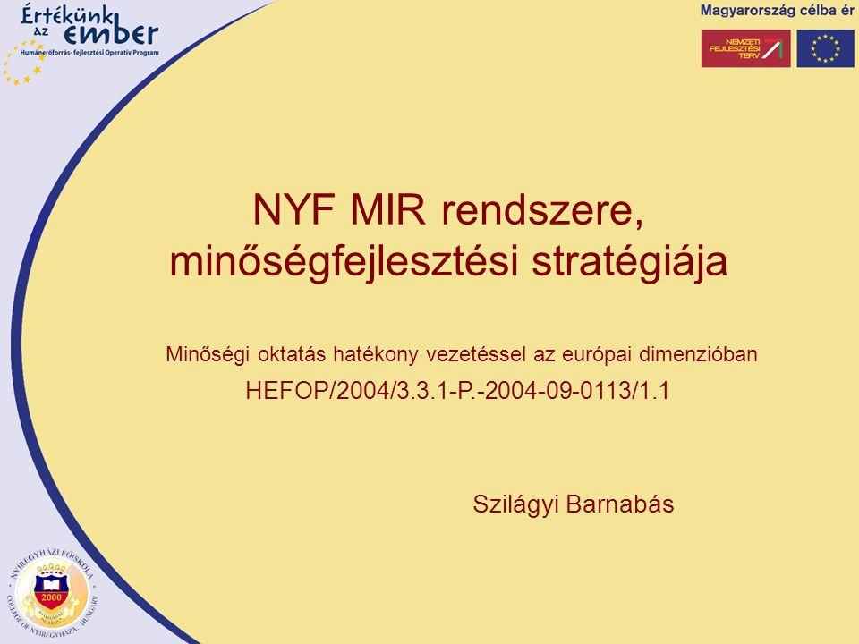 Szilágyi Barnabás Minőségi oktatás hatékony vezetéssel az európai dimenzióban HEFOP/2004/3.3.1-P.-2004-09-0113/1.1 NYF MIR rendszere, minőségfejlesztési stratégiája
