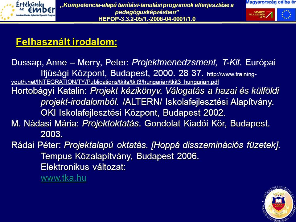 Dussap, Anne – Merry, Peter: Projektmenedzsment, T-Kit. Európai Ifjúsági Központ, Budapest, 2000. 28-37. http://www.training- youth.net/INTEGRATION/TY