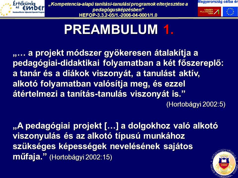"""""""Kompetencia-alapú tanítási-tanulási programok elterjesztése a pedagógusképzésben"""" HEFOP-3.3.2-05/1.-2006-04-0001/1.0 PREAMBULUM 1. """"… a projekt módsz"""