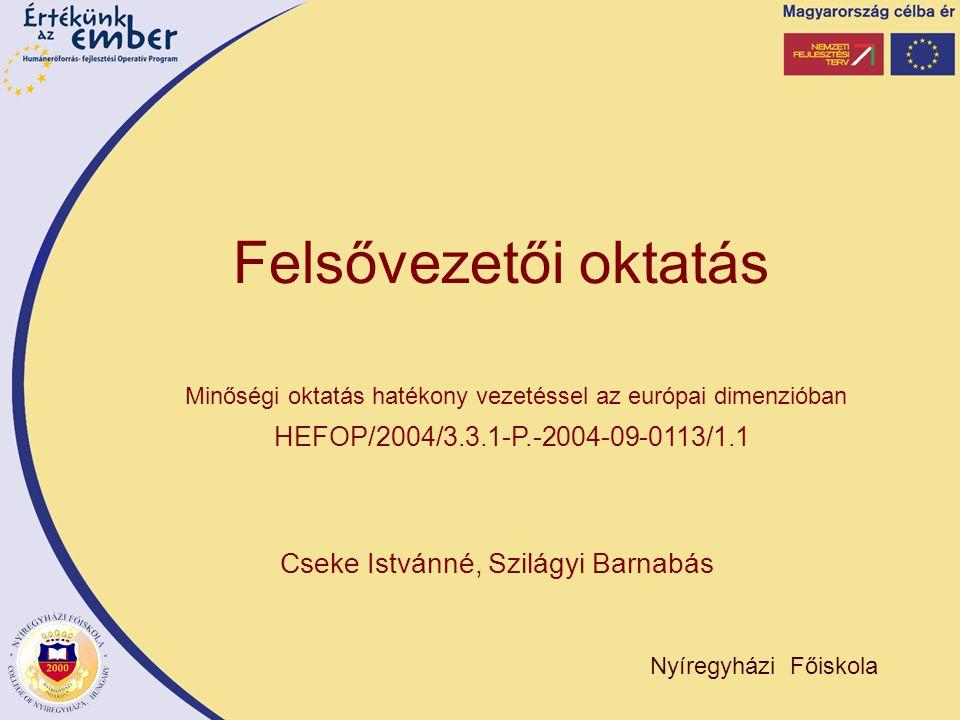 Cseke Istvánné, Szilágyi Barnabás Nyíregyházi Főiskola Minőségi oktatás hatékony vezetéssel az európai dimenzióban HEFOP/2004/3.3.1-P.-2004-09-0113/1.1 Felsővezetői oktatás