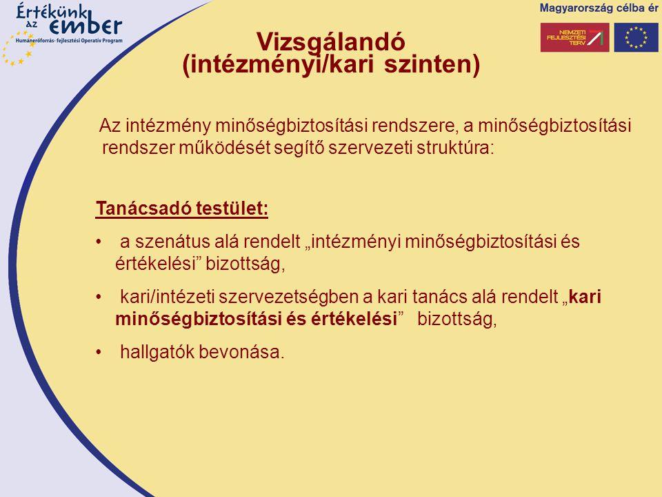 """Vizsgálandó (intézményi/kari szinten) Az intézmény minőségbiztosítási rendszere, a minőségbiztosítási rendszer működését segítő szervezeti struktúra: Tanácsadó testület: a szenátus alá rendelt """"intézményi minőségbiztosítási és értékelési bizottság, kari/intézeti szervezetségben a kari tanács alá rendelt """"kari minőségbiztosítási és értékelési bizottság, hallgatók bevonása."""