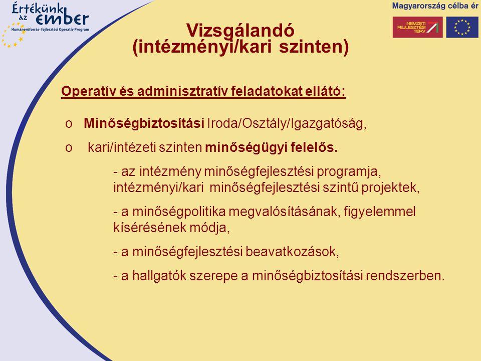 o Minőségbiztosítási Iroda/Osztály/Igazgatóság, o kari/intézeti szinten minőségügyi felelős.