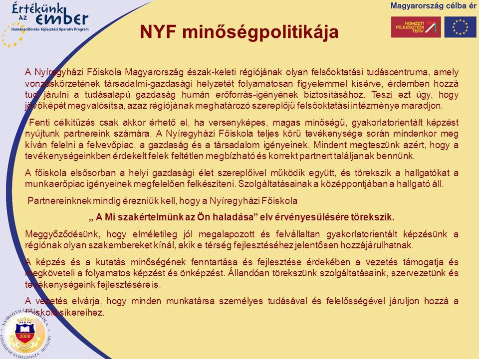 NYF minőségpolitikája A Nyíregyházi Főiskola Magyarország észak-keleti régiójának olyan felsőoktatási tudáscentruma, amely vonzáskörzetének társadalmi-gazdasági helyzetét folyamatosan figyelemmel kísérve, érdemben hozzá tud járulni a tudásalapú gazdaság humán erőforrás-igényének biztosításához.