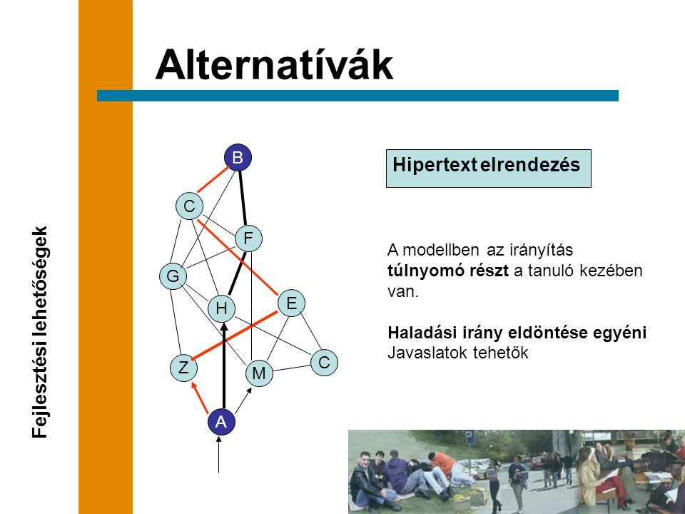 Hipertext elrendezés Alternatívák Fejlesztési lehetőségek A modellben az irányítás túlnyomó részt a tanuló kezében van.