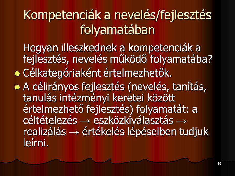 10 Kompetenciák a nevelés/fejlesztés folyamatában Hogyan illeszkednek a kompetenciák a fejlesztés, nevelés működő folyamatába.