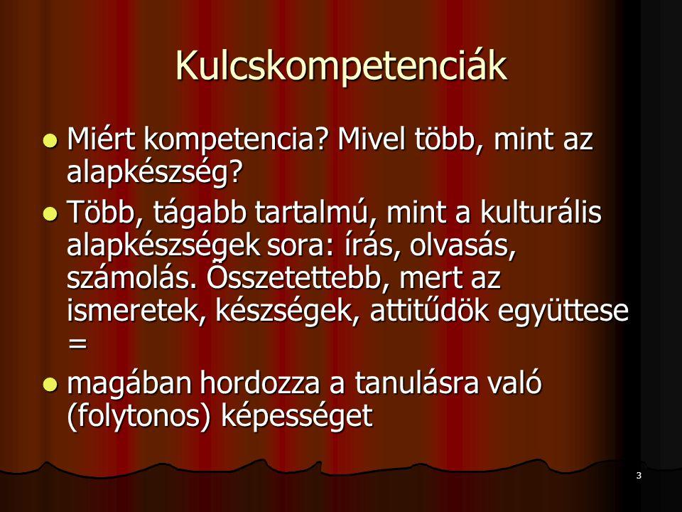 3 Kulcskompetenciák Miért kompetencia? Mivel több, mint az alapkészség? Miért kompetencia? Mivel több, mint az alapkészség? Több, tágabb tartalmú, min