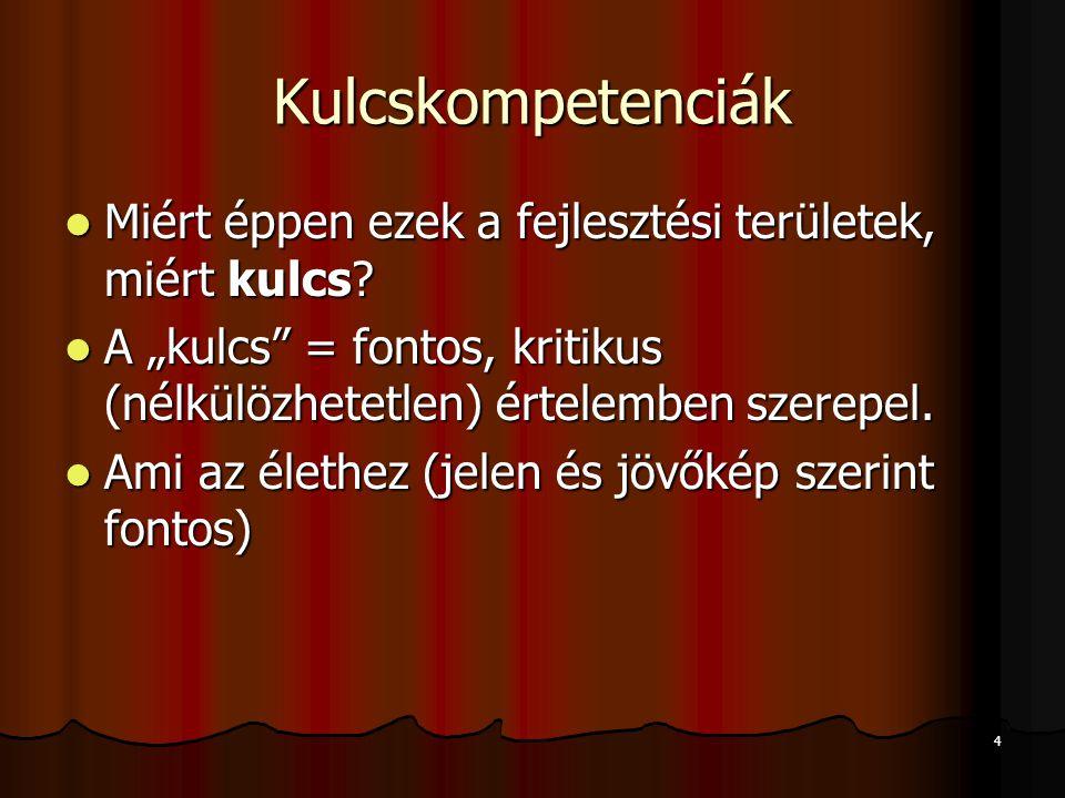 5 Kulcskompetenciák Kiknek és mihez fontos.