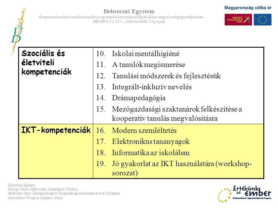 A modulok felépítése: ProgramcsomagokProgramcsomagok –Kompetencia-térkép: –SuliNova Kht.