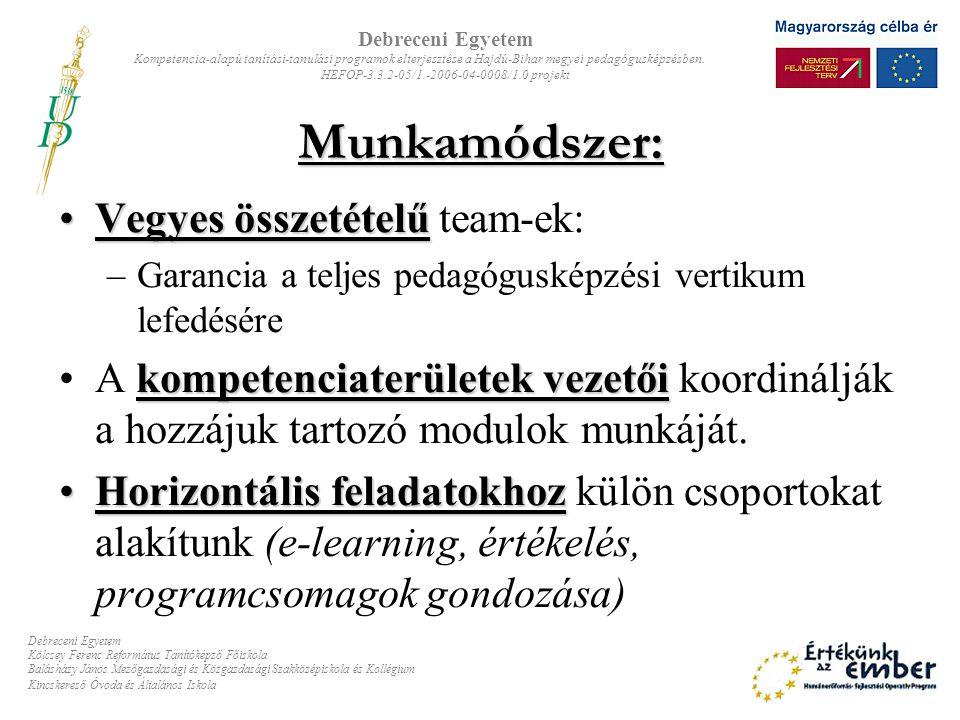 Munkamódszer: Vegyes összetételűVegyes összetételű team-ek: –Garancia a teljes pedagógusképzési vertikum lefedésére kompetenciaterületek vezetőiA komp