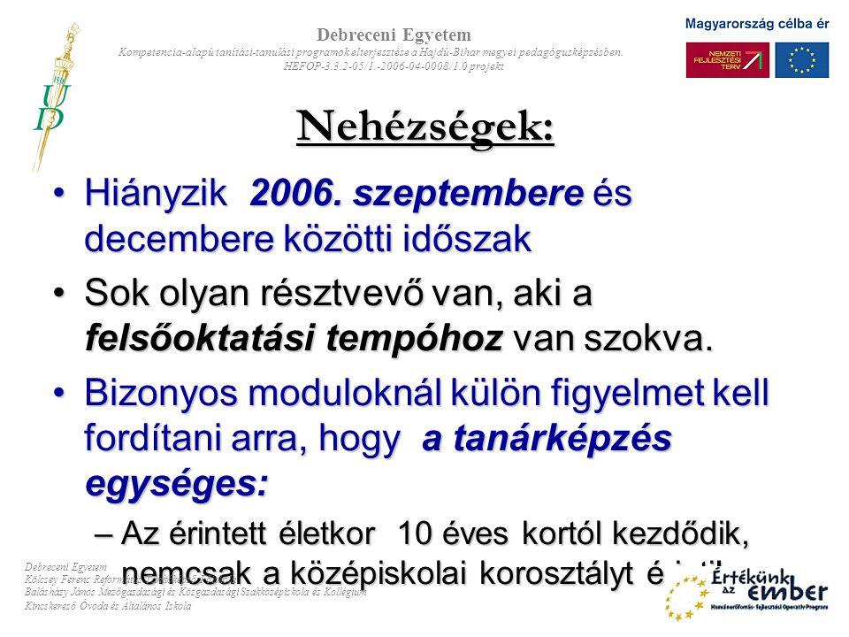 Nehézségek: Hiányzik 2006. szeptembere és decembere közötti időszakHiányzik 2006. szeptembere és decembere közötti időszak Sok olyan résztvevő van, ak