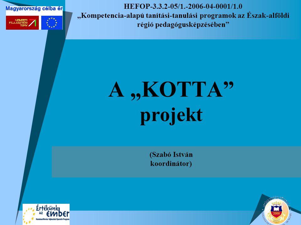 """HEFOP-3.3.2-05/1.-2006-04-0001/1.0 """"Kompetencia-alapú tanítási-tanulási programok az Észak-alföldi régió pedagógusképzésében A """"KOTTA projekt (Szabó István koordinátor)"""