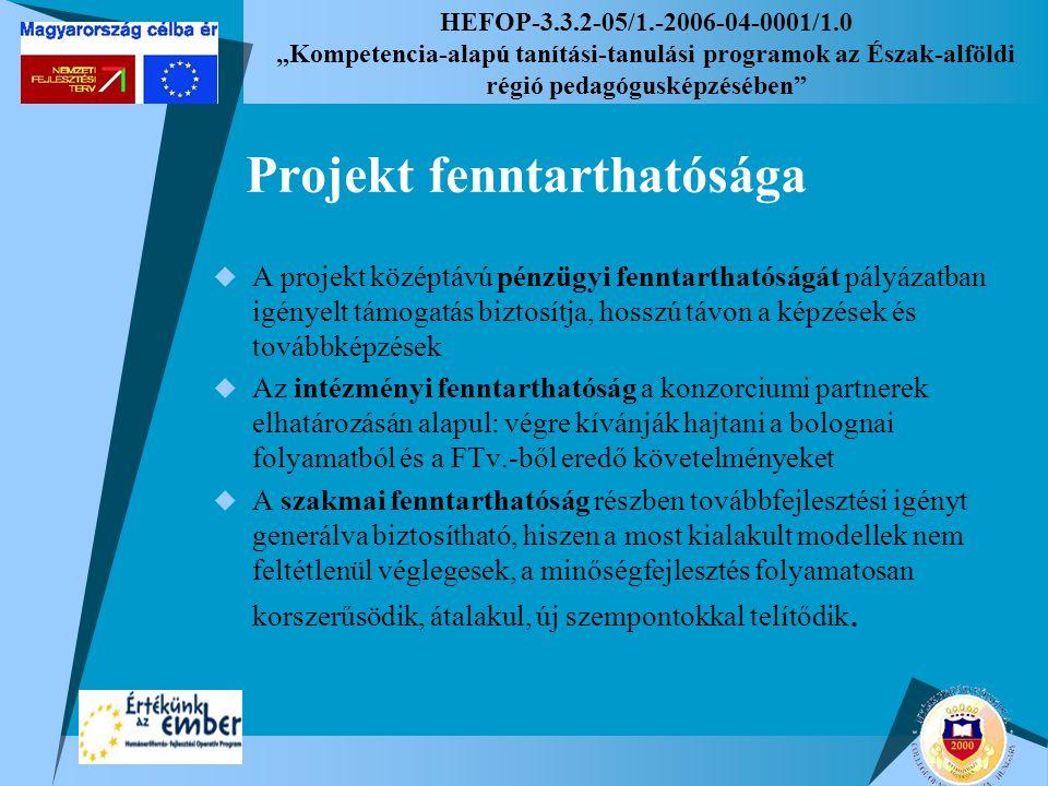"""HEFOP-3.3.2-05/1.-2006-04-0001/1.0 """"Kompetencia-alapú tanítási-tanulási programok az Észak-alföldi régió pedagógusképzésében Projekt fenntarthatósága  A projekt középtávú pénzügyi fenntarthatóságát pályázatban igényelt támogatás biztosítja, hosszú távon a képzések és továbbképzések  Az intézményi fenntarthatóság a konzorciumi partnerek elhatározásán alapul: végre kívánják hajtani a bolognai folyamatból és a FTv.-ből eredő követelményeket  A szakmai fenntarthatóság részben továbbfejlesztési igényt generálva biztosítható, hiszen a most kialakult modellek nem feltétlenül véglegesek, a minőségfejlesztés folyamatosan korszerűsödik, átalakul, új szempontokkal telítődik."""