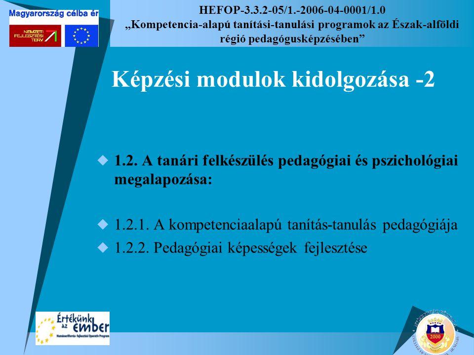 """HEFOP-3.3.2-05/1.-2006-04-0001/1.0 """"Kompetencia-alapú tanítási-tanulási programok az Észak-alföldi régió pedagógusképzésében Képzési modulok kidolgozása -2  1.2."""