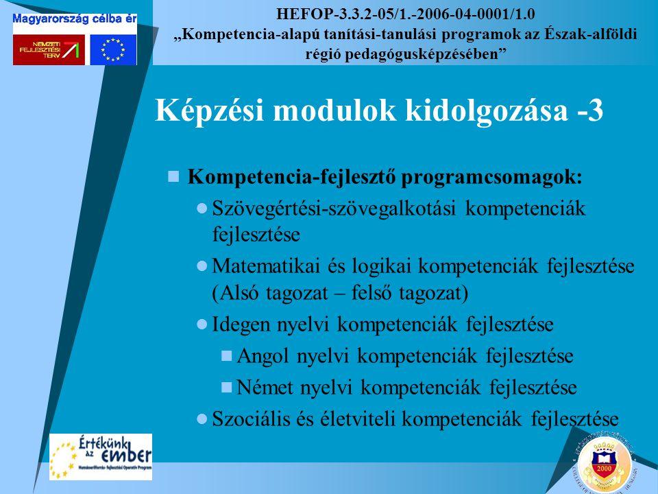 """HEFOP-3.3.2-05/1.-2006-04-0001/1.0 """"Kompetencia-alapú tanítási-tanulási programok az Észak-alföldi régió pedagógusképzésében Képzési modulok kidolgozása -3 Kompetencia-fejlesztő programcsomagok: Szövegértési-szövegalkotási kompetenciák fejlesztése Matematikai és logikai kompetenciák fejlesztése (Alsó tagozat – felső tagozat) Idegen nyelvi kompetenciák fejlesztése Angol nyelvi kompetenciák fejlesztése Német nyelvi kompetenciák fejlesztése Szociális és életviteli kompetenciák fejlesztése"""