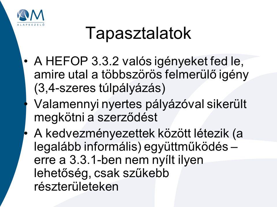 Tapasztalatok A HEFOP 3.3.2 valós igényeket fed le, amire utal a többszörös felmerülő igény (3,4-szeres túlpályázás) Valamennyi nyertes pályázóval sikerült megkötni a szerződést A kedvezményezettek között létezik (a legalább informális) együttműködés – erre a 3.3.1-ben nem nyílt ilyen lehetőség, csak szűkebb részterületeken