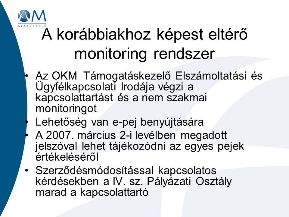 A korábbiakhoz képest eltérő monitoring rendszer Az OKM Támogatáskezelő Elszámoltatási és Ügyfélkapcsolati Irodája végzi a kapcsolattartást és a nem szakmai monitoringot Lehetőség van e-pej benyújtására A 2007.