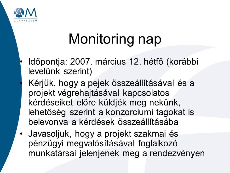 Monitoring nap Időpontja: 2007. március 12. hétfő (korábbi levelünk szerint) Kérjük, hogy a pejek összeállításával és a projekt végrehajtásával kapcso